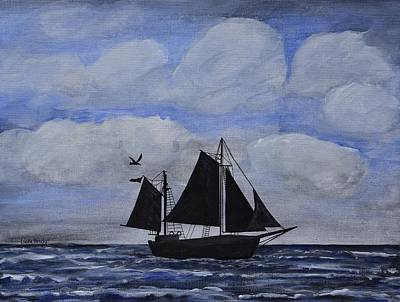 Outrigger Painting - Sailing Ship Silhouette by Linda Brody