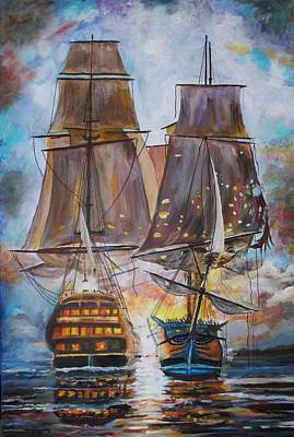 Painting - Sailing Ships At War. by Mike Benton