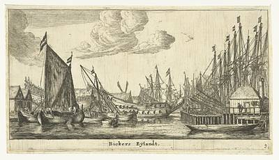 Drawing - Sailing Ships Bickerseiland Reinier Nooms 1652  1654 by R Muirhead Art