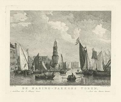 Drawing - Sailing Ships Haringpakkerstoren Te Amsterdam  Fw Musculus  After Reinier Nooms  1760  1796 by R Muirhead Art
