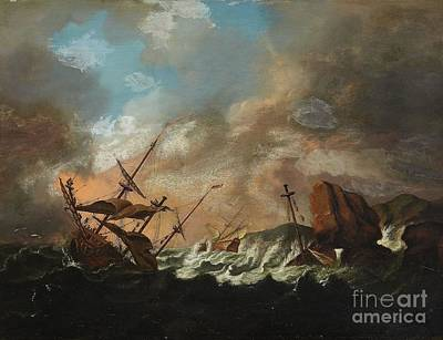 Sailing Ships In A Storm Art Print by Celestial Images