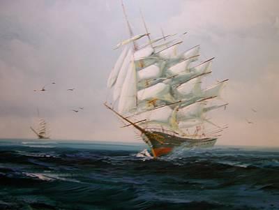 Sailing Ships The Beauty Of The Sea Art Print by Robert E Gebler