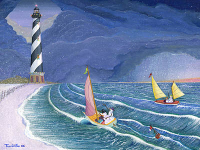 Sailing Snowmen Art Print by Thomas Griffin