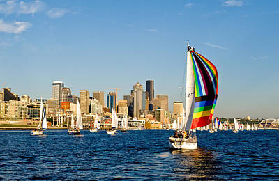 Sailing Some Color To Seattle Art Print by Tom Dowd