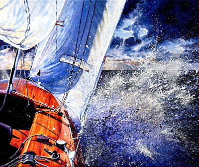 Waterscape Painting - Sailing Souls by Hanne Lore Koehler