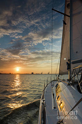 Sailing Sunset On The Charleston Harbor Beneteau 49 Print by Dustin K Ryan
