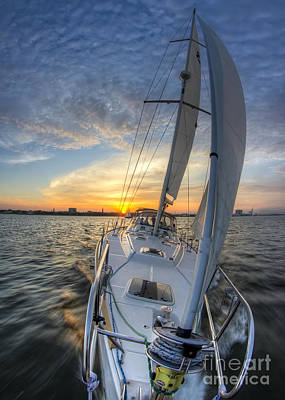 Sunset Sailing Photograph - Sailing Sunset Sailboat Fate Charleston  by Dustin K Ryan