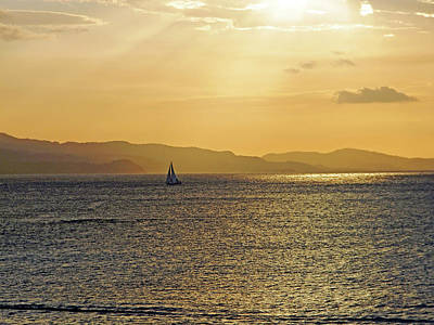 Photograph - Sailing The Caribbean At Sunset by Debbie Oppermann