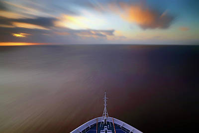 Photograph - Sailing The Caribbean - Cruise Ship - Sunrise - Seascape by Jason Politte