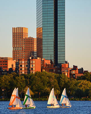 Hancock Building Digital Art - Sailing The Charles River Boston Ma Close Up by Toby McGuire