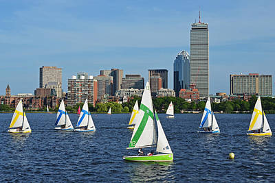 Photograph - Sailing The Charles River Boston Ma Skyline by Toby McGuire