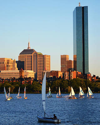Hancock Building Digital Art - Sailing The Charles River Boston Ma by Toby McGuire