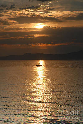 Sailing The Great Salt Lake At Sunset Art Print by Dennis Hammer