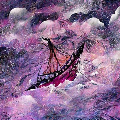 Sailing The Heavens Art Print by Rachel Christine Nowicki