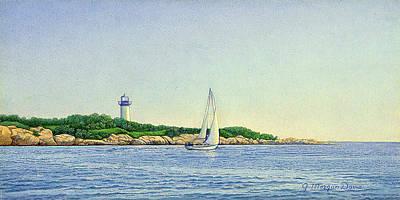 Coastal Landscape Painting - Sailing The Point by J Morgan Davis