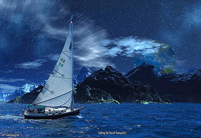 Digital Art - Sailing The Sea Of Tranquility by David Jackson