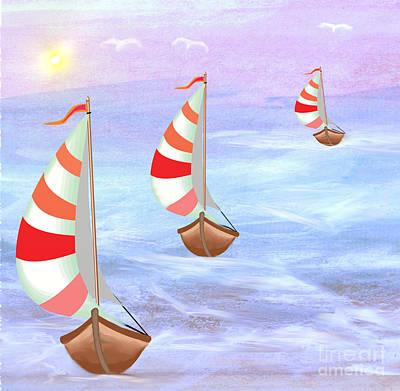 Painting - Sailing Threesome by Belinda Threeths