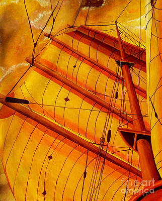 Painting - Sailing Through Gold by Anthony Dunphy