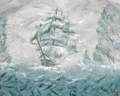 Haunted Castle Painting - Sailing Through The Fog by Stephanie Yates
