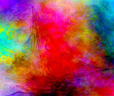 Conceptual Digital Art - Sailing To The Ends Of The Earth by Abstract Angel Artist Stephen K