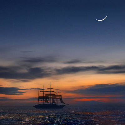 Tall Ship Photograph - Sailing To The Moon 2 by Mike McGlothlen