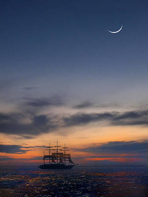 Tall Ship Photograph - Sailing To The Moon by Mike McGlothlen