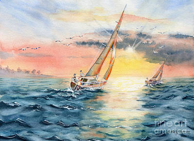Painting - Sailing To The Sunset by Melly Terpening