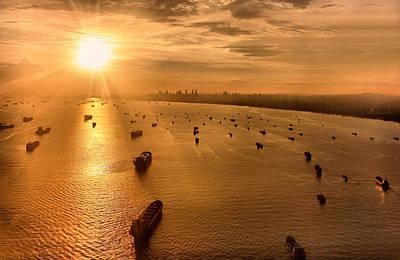 Sailing Towards The Ray Of Gold Art Print