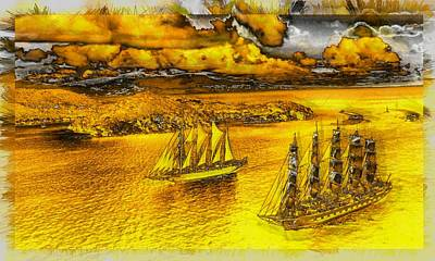 Digital Art - Sailing Under Golden Skies by Mario Carini