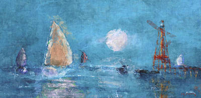 Maine Shore Mixed Media - Sailing Under Moon by Ken Figurski