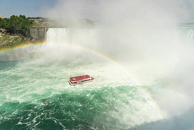 Photograph - Sailing Under Niagara Falls Rainbow - Hornblower Boat Cruise by Georgia Mizuleva