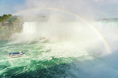 Photograph - Sailing Under Niagara Falls Rainbow - Maid Of The Mist Boat Cruise by Georgia Mizuleva