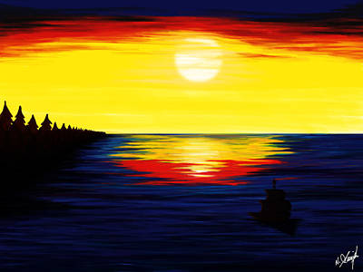 Sailing Under Sunset Original by Arasaraajah Nathan