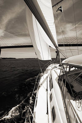 Sailing Under The Arthur Ravenel Jr. Bridge In Charleston Sc Art Print