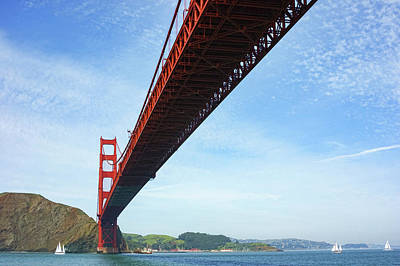 Painting - Sailing Under The Golden Gate Bridge In San Francisco Bay California by Georgia Mizuleva