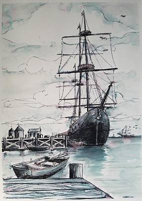 Drawing - Sailing Vessel Pandora by Vic Delnore