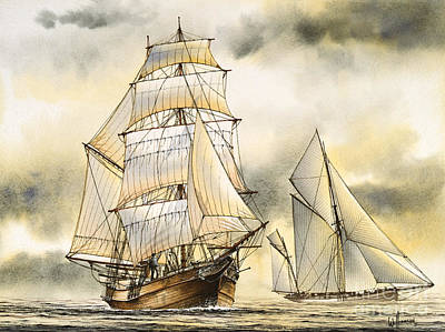 Sailing Vessel Romance Art Print by James Williamson