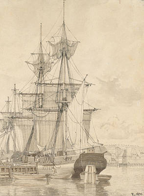 Drawing - Sailing Vessels At Wilders Plads, Copenhagen by Christoffer Wilhelm Eckersberg