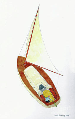 Windblown Mixed Media - Sailing Watercolor by Fred Jinkins