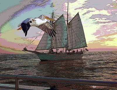 Mixed Media - Sailing With A Pelican by Charles Shoup