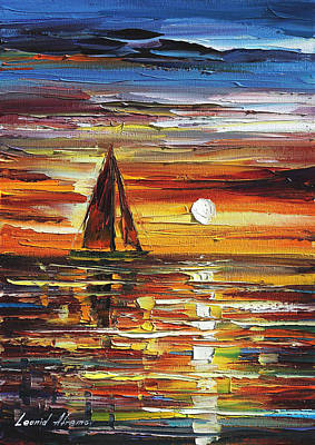 Lighthouse Oil Painting - Sailing With The Sun by Leonid Afremov