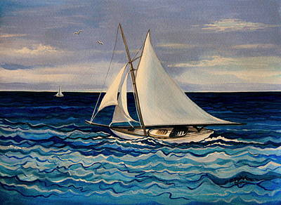 Sailboats Painting - Sailing With The Waves by Elizabeth Robinette Tyndall