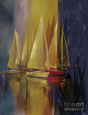 Cloudy Day Painting - Sailing Yellow by Gull G