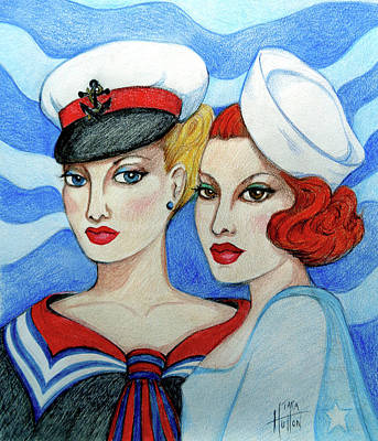 Drawing - Sailor Girls by Tara Hutton