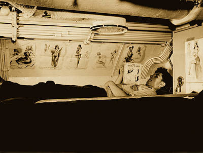 Photograph - Sailor Reading In Submarine Bunk  by U S N A