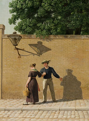 Painting - Sailor Taking Leave Of His Girlfriend by Christoffer Wilhelm Eckersberg