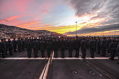 Sea Painting - Sailors Aboard The Guided-missile Cruiser Uss Monterey by Celestial Images