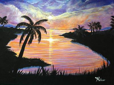 Tree Reflection At Sunset Painting - Sailor's Delight by Helene Thomason