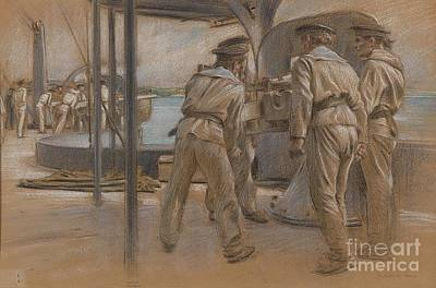 Port Painting - Sailors From The Pola In Port by Celestial Images