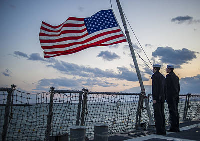 Ensign Painting - Sailors Lower The Ensign Us Flag Us Navy by Celestial Images